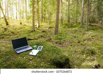Distance job / work. Office with laptop and tablet in a mossy green forest.