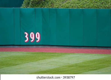 distance marker on outfield wall