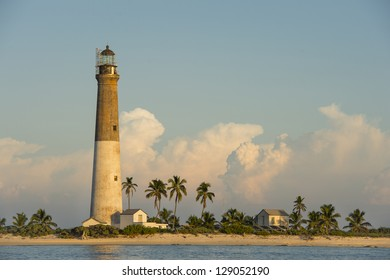 Distance view of a Dry Tortugas Light on sunset