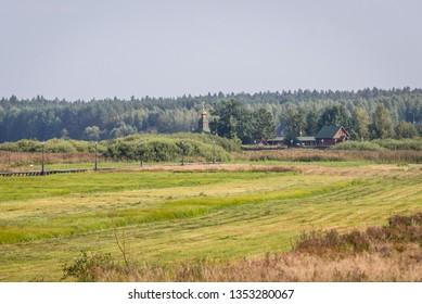 Distance view of Orthodox skete - monastic community in Odrynki, small village in Podlasie region of Poland