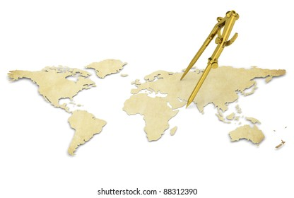 Distance. A World Map in 3D. Paper Shape, thin and Antique style. Brass Divider.
