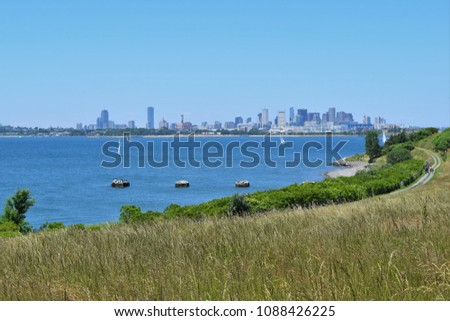 The distant Boston skyline from the Harbor Islands