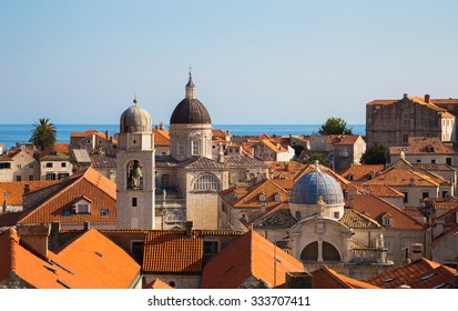 Distant building of the Treasury-Cathedral inside the old town of Dubrovnik, Croatia