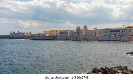 distant city view of Syracuse located in Sicily, Italy