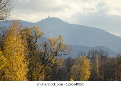 distant mountain peak of Lysá hora (Beskydy mountains), view from city Frýdek-Místek during autumn season, hiking opportunity close to Ostrava, Czech Republic
