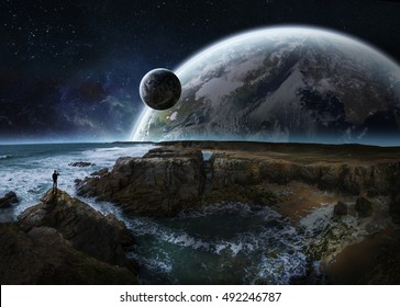Distant planet system view from cliffs and ocean 3D rendering elements of this image furnished by NASA