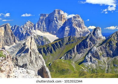 Distant summits of Monte Pelmo, Dolomite Alps, Italy