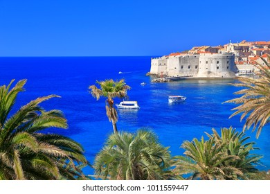 Distant vier to fortified walls of the old town of Dubrovnik, Croatia