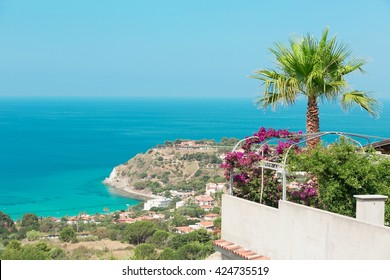 A distant view of the beautiful coast of Capo Vaticano, Calabria, Italy. Grotticelle beach