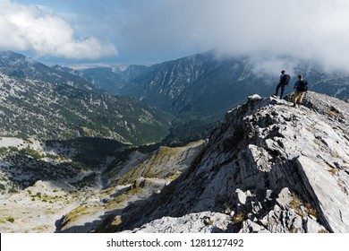 Distant view of Enipeas Gorge on Mount Olympus, the highest mountain of Greece and  home of the ancient Greek gods