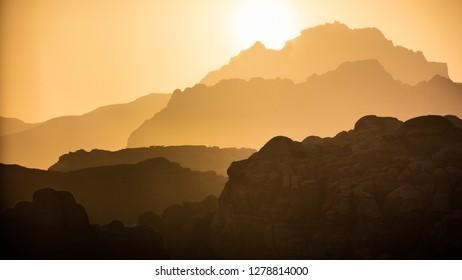 Distant view of High Place of Sacrifice and Tomb of Prophet Aaron, Petra, Jordan