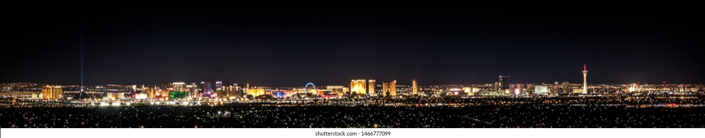 Distant view of Las Vegas skyline at night, panoramic background, city lights at night