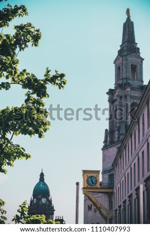 Distant View of Leeds Town Hall Clock & Civic Hall Taken During a Summers Day by Matthew Latham