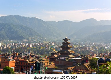 Distant view of Nyatapola Temple in Taumadhi Square, the tallest temple standing tall in an ancient city of Bhaktapur, a UNESCO World Heritage site located in the Kathmandu Valley, Nepal.