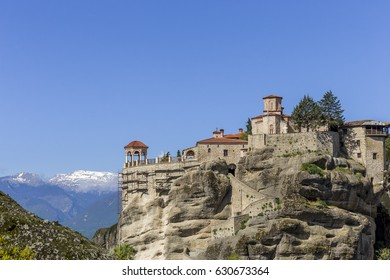 distant view on Grand Meteoro monastery, Greece