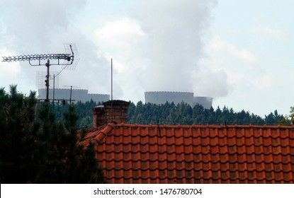 Distant view on the Nuclear Power Plant Temelin in the Czech Republic