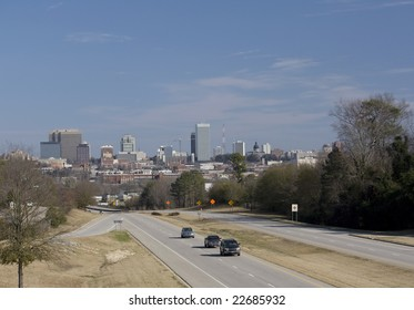 distant view of the skyline of downtown Columbia, South Carolina