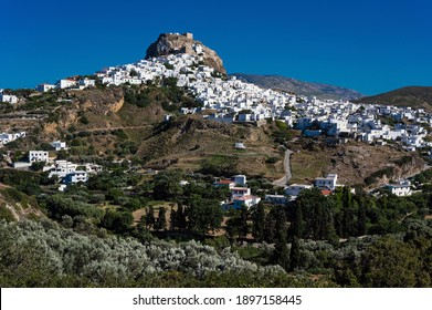 Distant view of Skyros town or Chora, the capital of Skyros island in Greece
