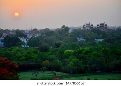 Distant view of Taj Mahal at sunset, Agra, India