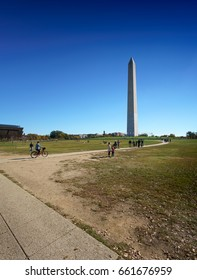 Distant view of Washington obelisk in the sunlight, Washington DC, USA. washington capital usa 2016 fall