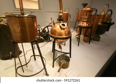 distiller for the production of perfume water, the copper metal vat, a museum piece