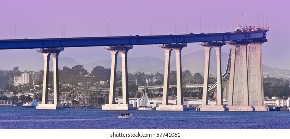 The distinctive curve and soaring sweep of the San Diego-Coronado Bridge was the first structural conquest of San Diego Bay, joining the Island of Coronado and City of San Diego.