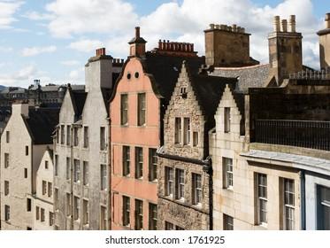 The distinctive gables of Edinburgh, Scotland