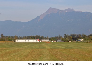 The distinctive outline of southwestern British Columbia's Cheam Peak and agricultural land at the foot of the mountain.