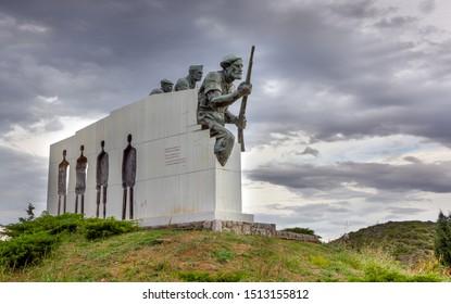 DISTOMO, GREECE - OCTOBER 14: Distomo Massacre Memorial on October 14, 2012 in Distomo, Boeotia. The memorial built to honor the victims of the German Nazi war crime in the village of Distomo.