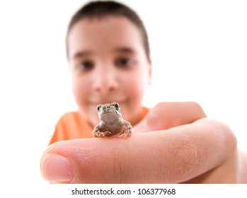 Distorted image of a child playing with little frog