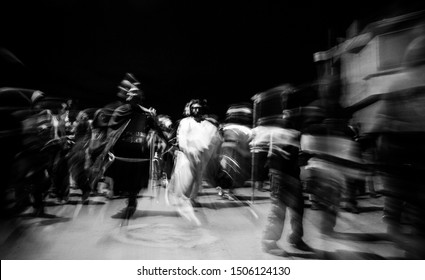 Distorted photography of Jesus Christ walking and Roman soldiers