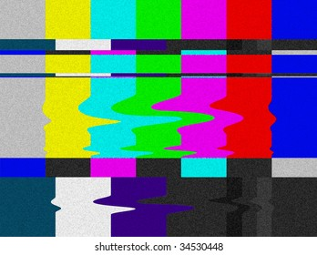 Distorted Television bars signal. Error on the test signal.