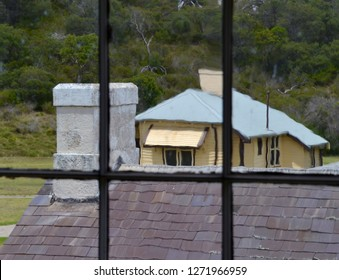 DIstorted view from the window of the hospital building at quarantine station museum at Point Nepean National Park near Melbourne