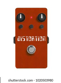 Distortion guitar effect pedal isolated on white. Overdrive stomp box