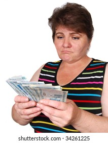 distracted woman with money
