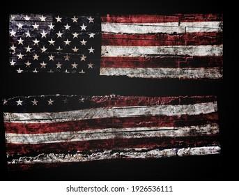 Distressed American flag split in half on black background