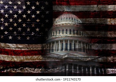Distressed American flag with the United States capitol building in Washington DC