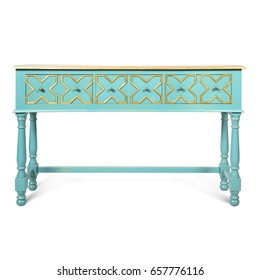 distressed blue console table with drawers isolated on white background