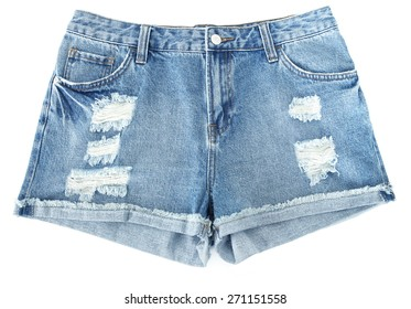 Distressed Denim Shorts Ripped on white background