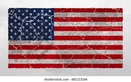 Distressed and fractured American flag. Cracks, wear and tear spread through the red, white and blue America's national symbol.