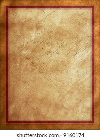 Distressed leather background with red border