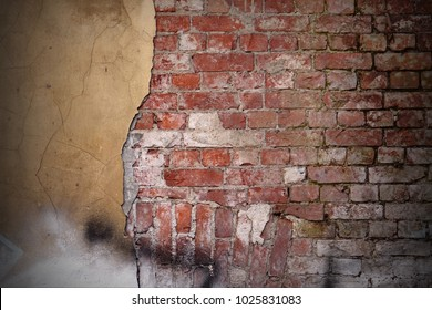 Distressed Old Urban Yellow Brown Brick Wall With Graffiti Street Art Background And Texture. Damaged Concrete Red Brickwall With Broken Plaster Abstract Grunge Grafitti Backdrop.