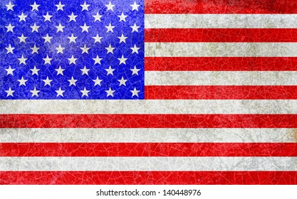 Distressed US flag; American stars and stripes flag, sprayed or graffitied onto urban wall