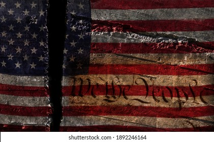 Distressed US flag split in two with We The People constitution text-- American political division concept