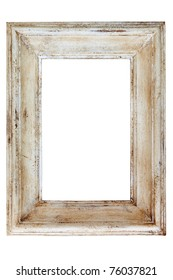 Distressed white painted picture frame, isolated on white background.