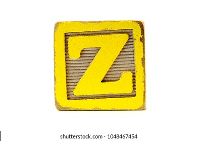 Distressed Wooden Yellow Toy Block, Letter Z