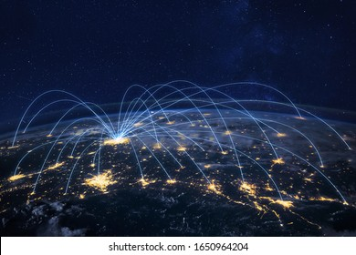 distribution and delivery concept, global business communication network, planet elements of the image furnished by NASA