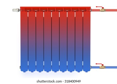 Distribution of heat flow in the radiator isolated on white background