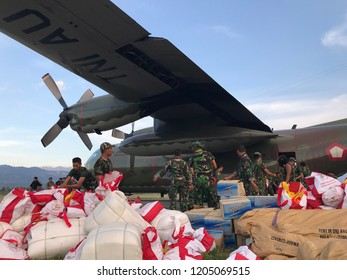 distribution of Logistical assistance from the president to victims of the disaster in Central Sulawesi earthquake and tsunami arrived at Mutiara Airport Sis Al Jufri Palu City 10 October 2018
