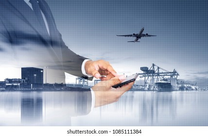 Distribution of logistics networks on industrial freight planes for fast delivery or online ordering. The concept of modern life, business, city life and internet of things.
